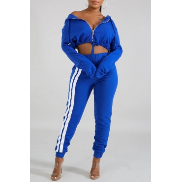 Lovely Casual Hooded Collar Crop Top Blue Two-piece Pants Set