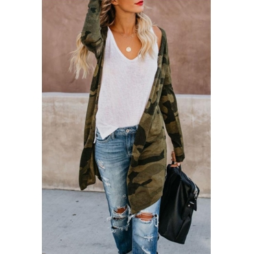 Lovely Casual Camo Print Coat