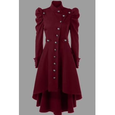 Lovely Work Buttons Design Red Plus Size Coat
