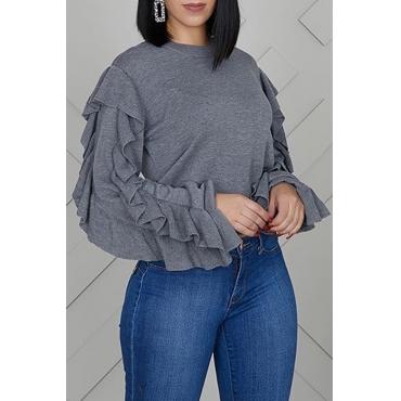 Lovely Trendy Flounce Design Grey Sweatshirt Hoodie