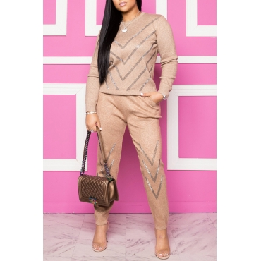 Lovely Casual O Neck Striped Champagne Two-piece Pants Set