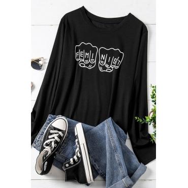 Lovely Trendy Print Black Plus Size T-shirt