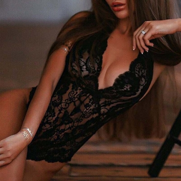 Lovely Sexy Lace V Neck Black Teddies