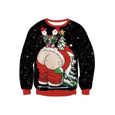 Lovely Trendy Print Black Sweatshirt Hoodie
