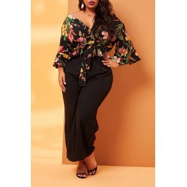 Lovely Casual Floral Black Plus Size Two-piece Pants Set