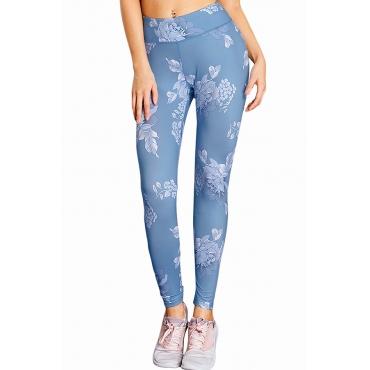 Lovely Leisure Floral Blue Leggings