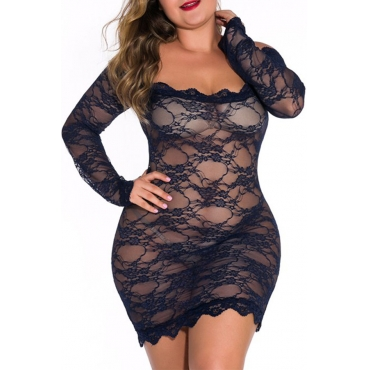 Lovely Sexy See-through Lace Dark Blue  Babydolls