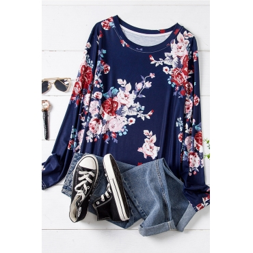Lovely Casual O Neck Print Dark Blue Plus Size T-shirt