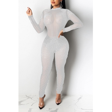 Lovely Sexy See-through Hot Drilling Decorative White One-piece Jumpsuit