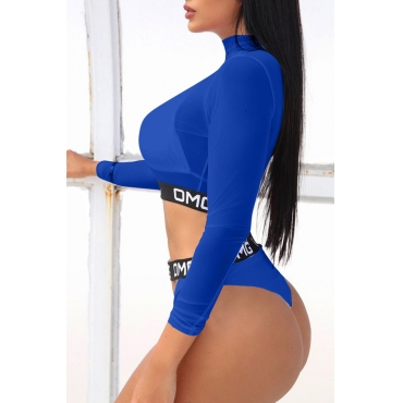 Lovely Letter Royal Blue Two-piece Swimsuit