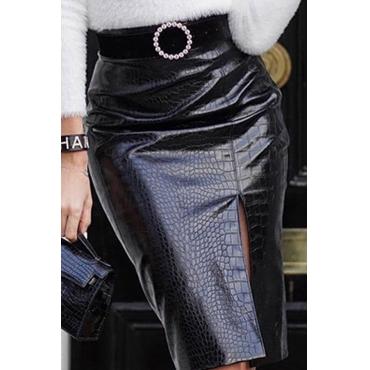 Lovely Casual Straight Slit Black Knee Length Skirt