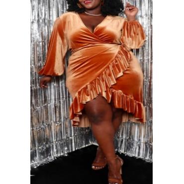 Lovely Chic V Neck Flounce Design Croci Knee Length Plus Size Dress