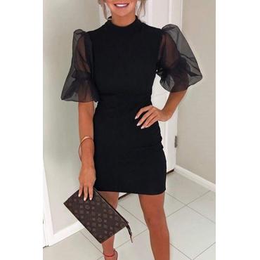 Lovely Sweet O Neck Patchwork Black Mini Dress