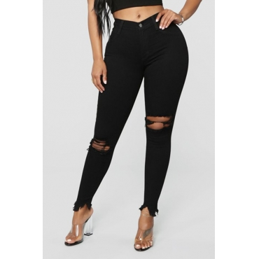 Lovely Trendy Broken Holes Black Jeans