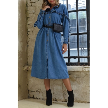 Lovely Sweet Turndown Collar Flounce Blue Mid Calf Dress