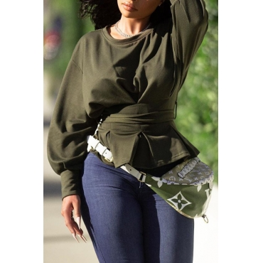 Lovely Casual O Neck Lace-up Army Green Sweatshirt Hoodie