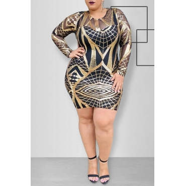 Lovely Trendy O Neck Print Black Plus Size Mini Dress