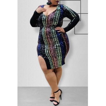 Lovely Casual Striped Multicolor Knee Length Plus Size Dress