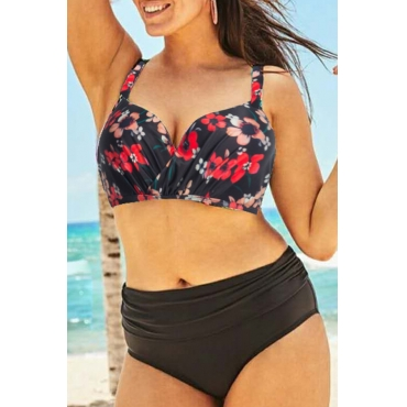 Lovely Print Red Plus Size Two-piece Swimwear