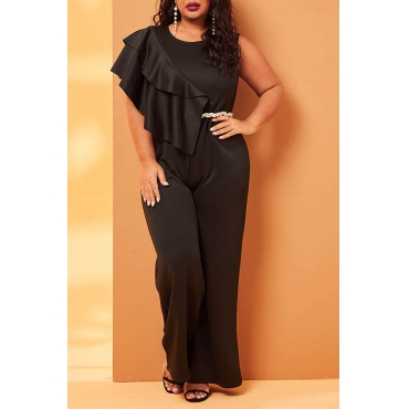 Lovely Casual Sleeveless Black Plus Size One-piece Jumpsuit