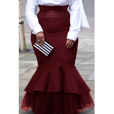 Lovely Casual Patchwork Wine Red Plus Size Skirt