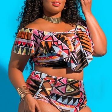 Lovely Geometric Multicolor Plus Size Two-piece Swimwear