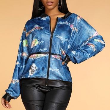 Lovely Trendy Patchwork Print Blue Coat
