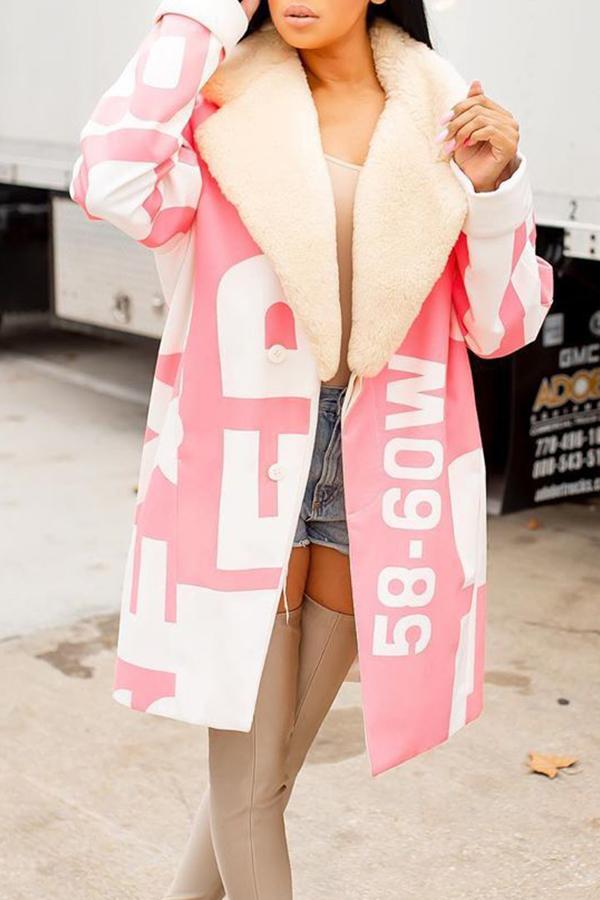 Lovely Casual Letter Light Pink Winter Coat