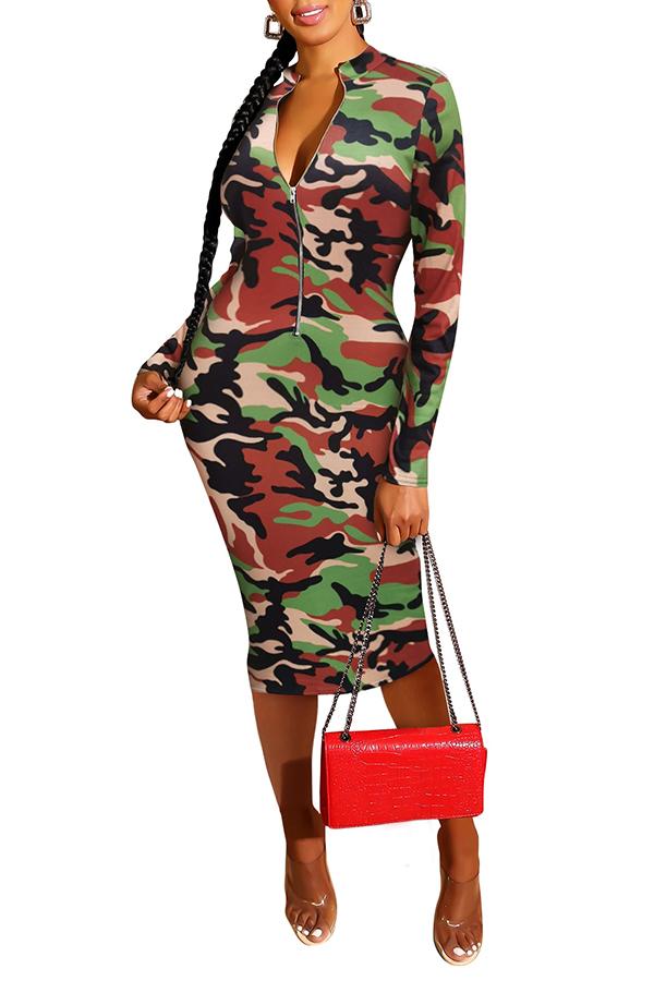 Lovely Trendy Camo Orange Knee Length Dress