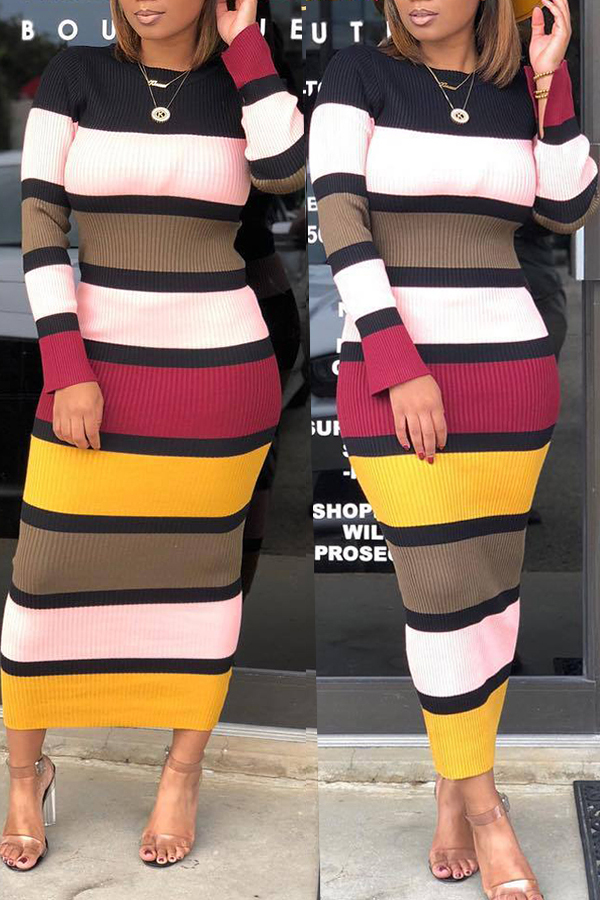Lovely Casual Striped Pink Mid Calf Dress