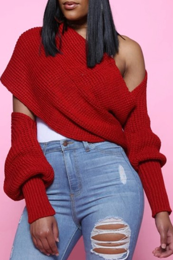 Lovely Casual V Neck Cross-over Design Bright Red Sweater
