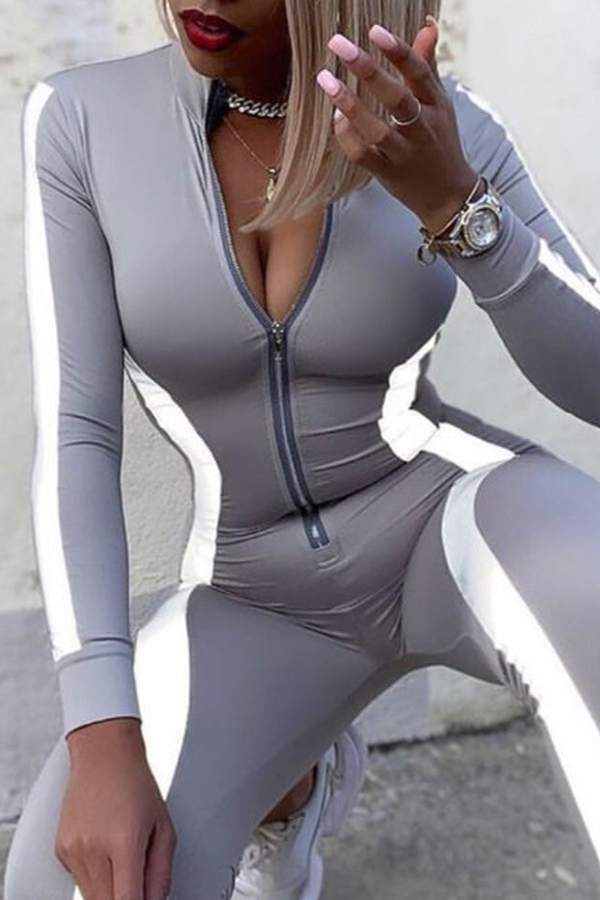 Lovely Casual Patchwork Grey One-piece Jumpsuit