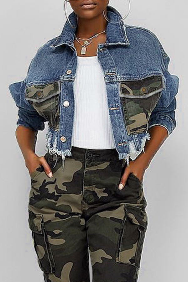 Denim Jacket Lovely Casual Camouflage Printed Patchwork Blue Coat фото