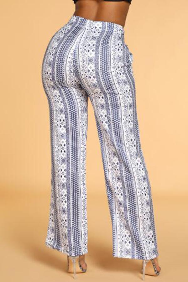 Lovely Casual Print White Jeans