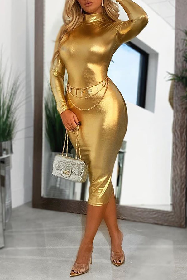 Lovely Party Skinny Gold Mid Calf Dress