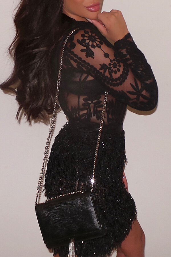 Lovely Party Lace Patchwork Black Mini Evening Dress