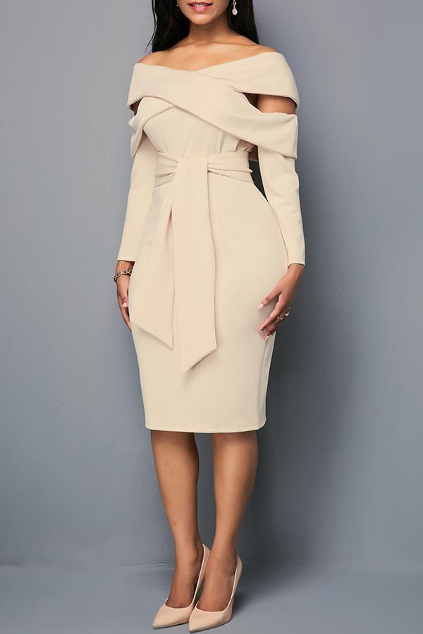 Lovely Leisure Hollow-out Khaki Knee Length Dress
