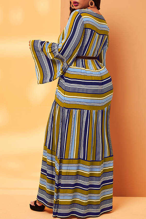 lovelywholesale / Lovely Trendy O Neck Striped Multicolor Ankle Length Plus Size Dress