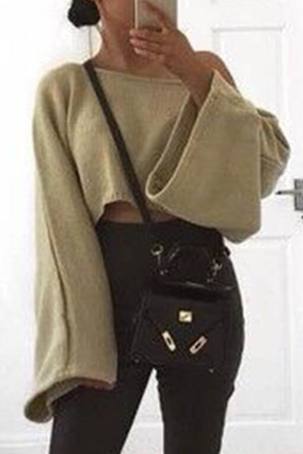 Lovely Casual Loose Khaki Sweater