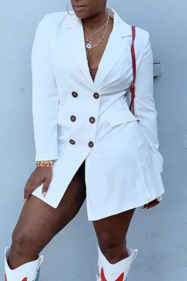 Lovely Casual Turndown Collar Buttons White Mini Dress