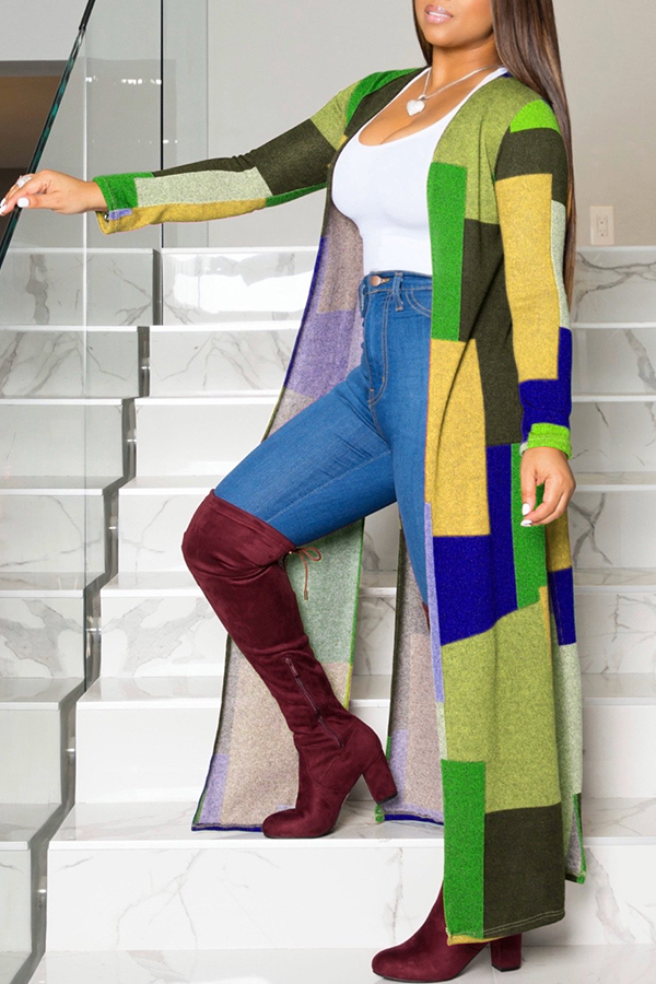 Lovely Casual Color-lump Patchwork Yellow Coat
