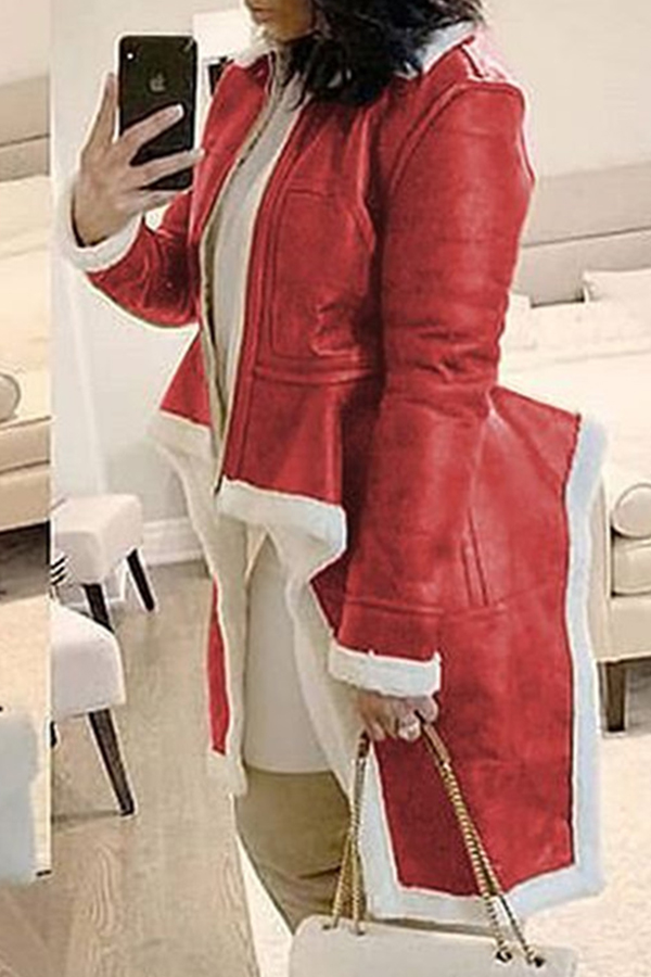 Lovely Casual Asymmetrical Patchwork Wine Red Coat