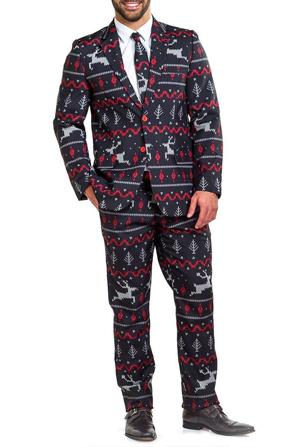 Lovely Christmas Day Wapiti Print Black Formal Wear