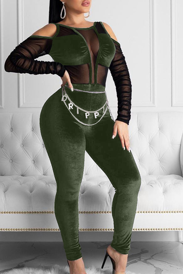 Lovely Sexy See-through Green One-piece Jumpsuit
