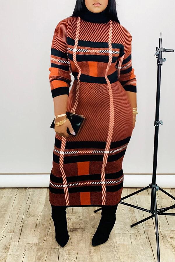 Lovely Casual Turtleneck Jacinth Ankle Length Dress