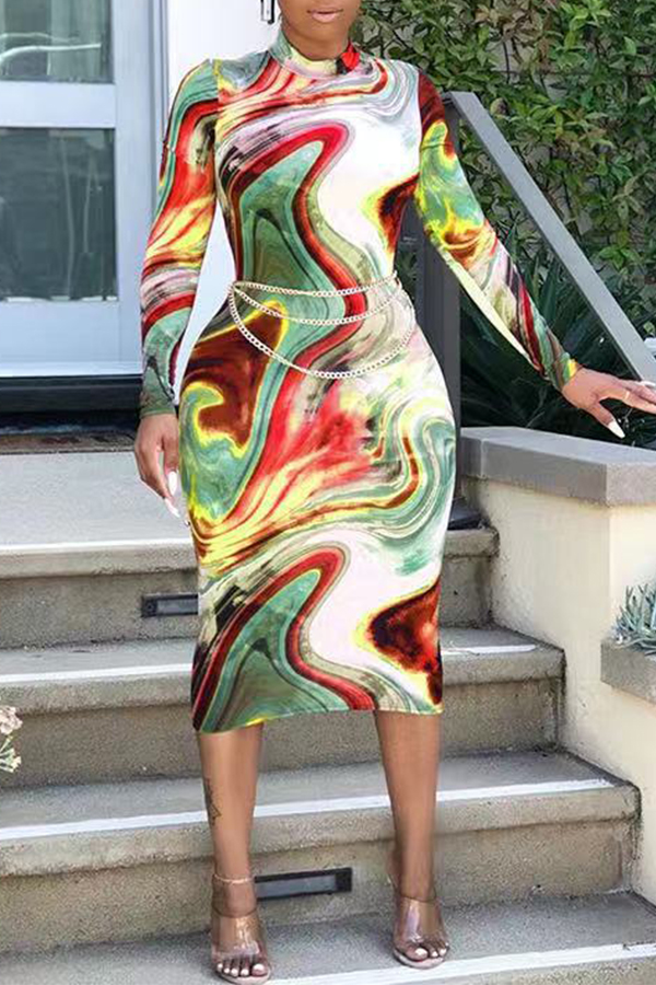 Lovely Casual Print Skinny Green Mid Calf Dress(Without Belt)