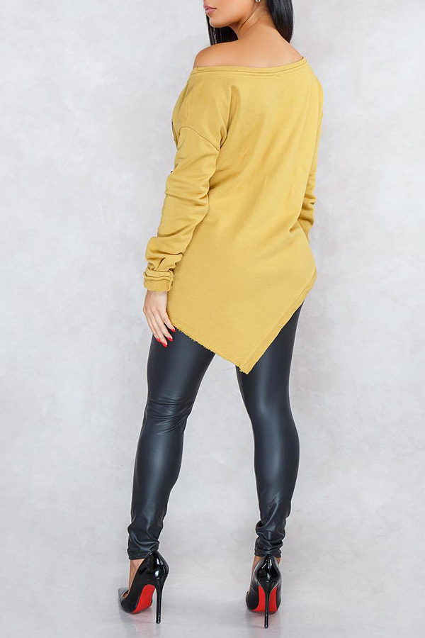 Lovely Casual Letter Yellow Blouse