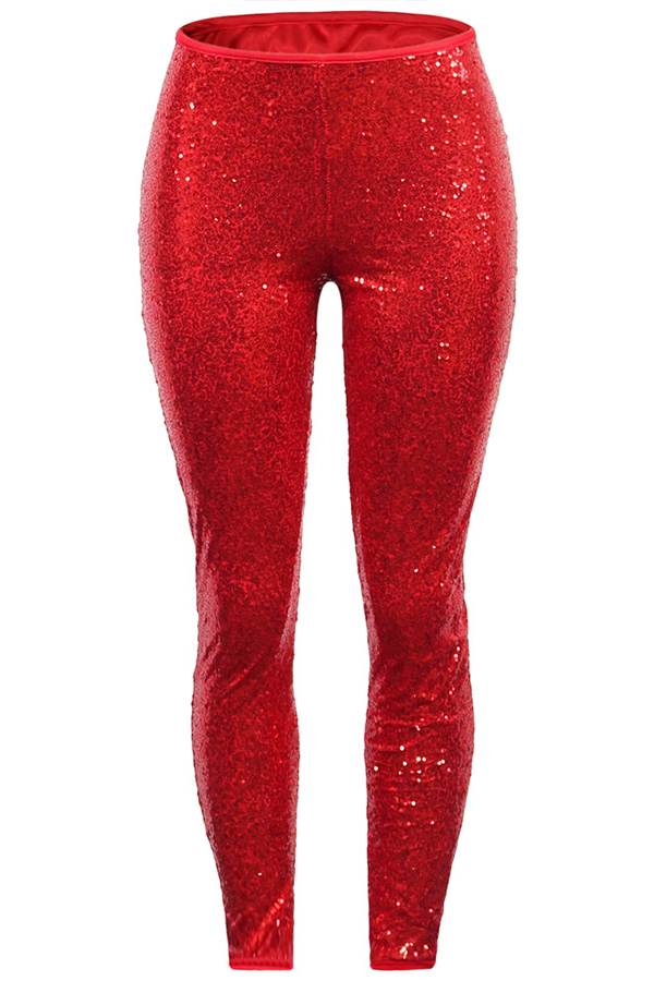 Lovely Casual Sequin Red Pants