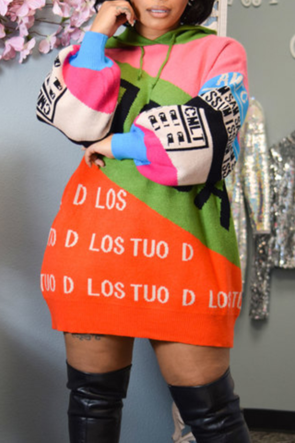 Lovely Casual Hooded Collar Print Multicolor Mini Dress