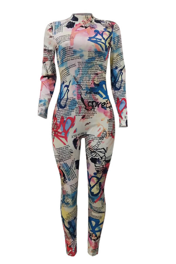Lovely Casual Print White One-piece Jumpsuit(Without Belt)